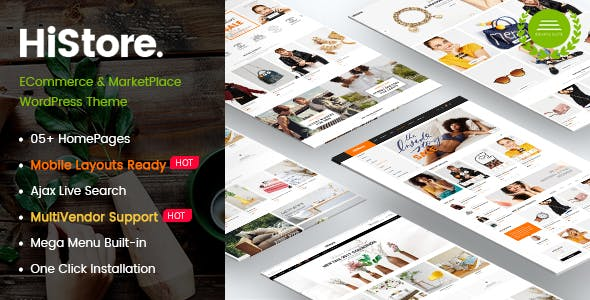 HiStore - Clean Fashion, Furniture eCommerce & MarketPlace WordPress Theme (Mobile Layouts Included)