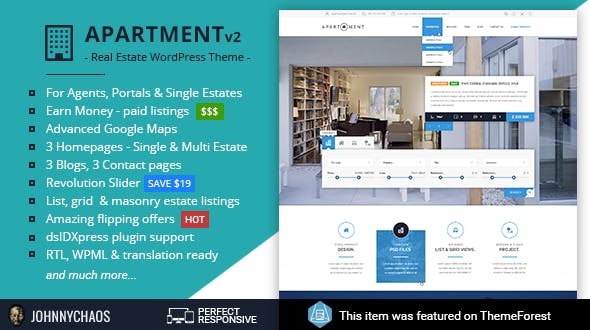 Apartment WP - Real Estate Responsive WordPress Theme for Agents, Portals, Single Property Sites