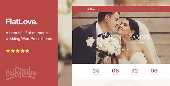 FlatLove - Flat Onepage Wedding WordPress Theme