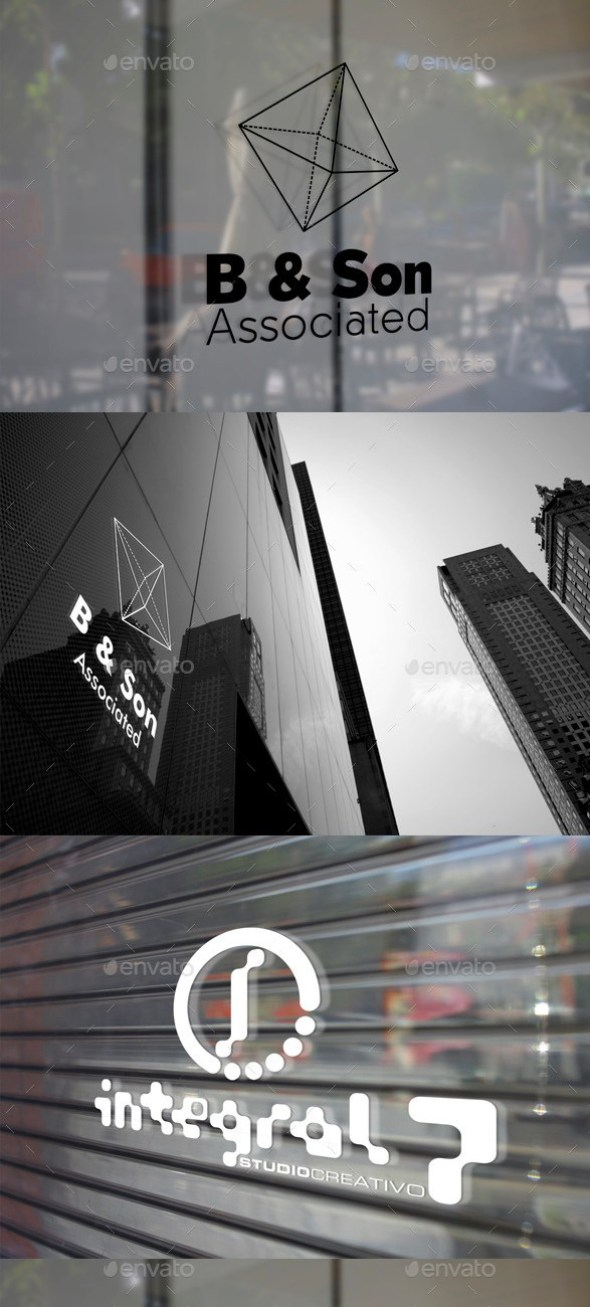 3 Glass Signage Mockup