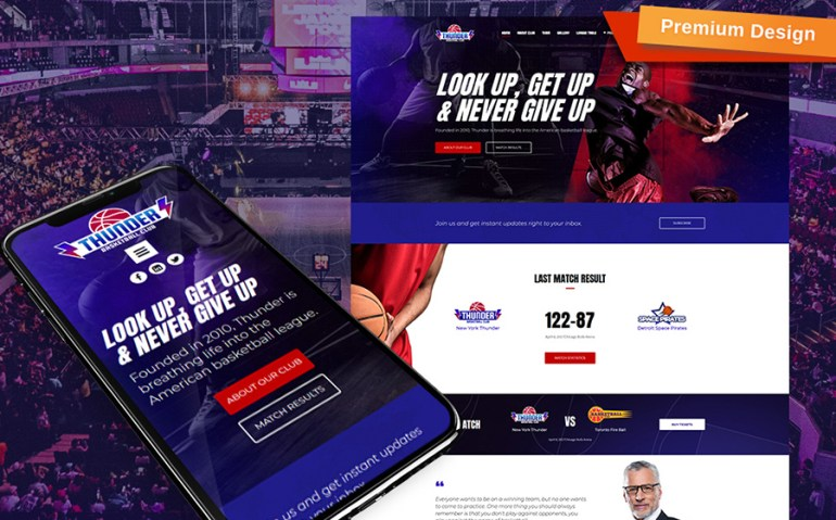 Thunder - Basketball Club Premium Moto CMS 3 Template