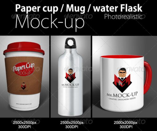 Mug, Paper Cup & Water Flask Mockup
