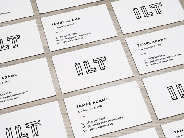 Perspective Business Cards Mockup PSD