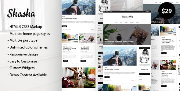 Shasha WordPress Blog Theme