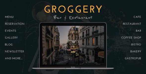 Groggery - Responsive Bar, Restaurant and Cafe WordPress Theme