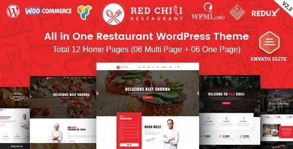 RedChili - Restaurant WordPress Theme for Restaurant, Food & Cafe
