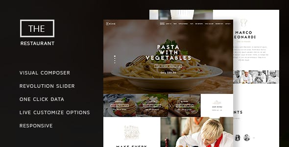 The Restaurant - Restauranteur and Catering One Page Theme