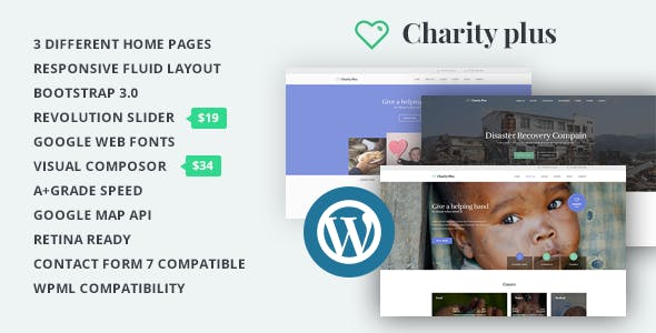CharityPlus - WordPress Multipurpose Theme For Non-Profit Organizations