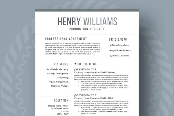 Resume Template for Word, 3 page