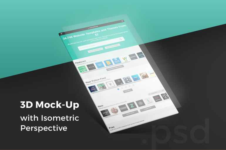 3D Isometric Perspective Mock-Up