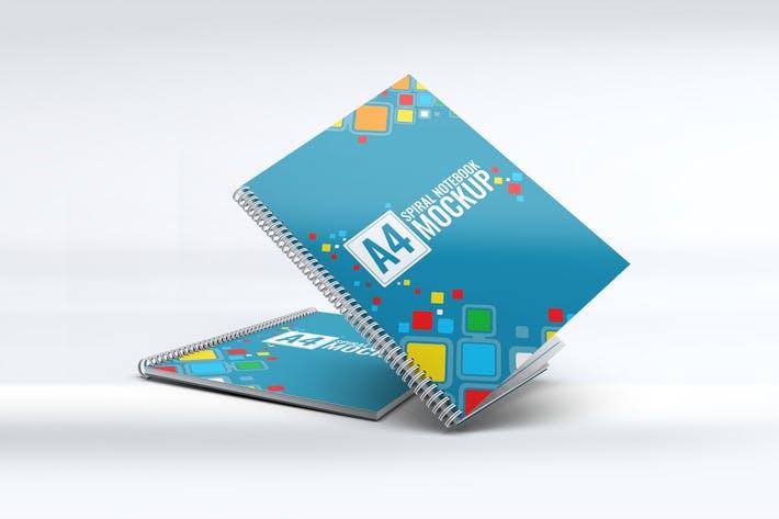A4 Spiral Notebook Mock-Up