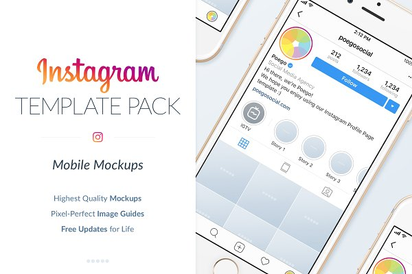 Instagram Mobile Mockups Pack