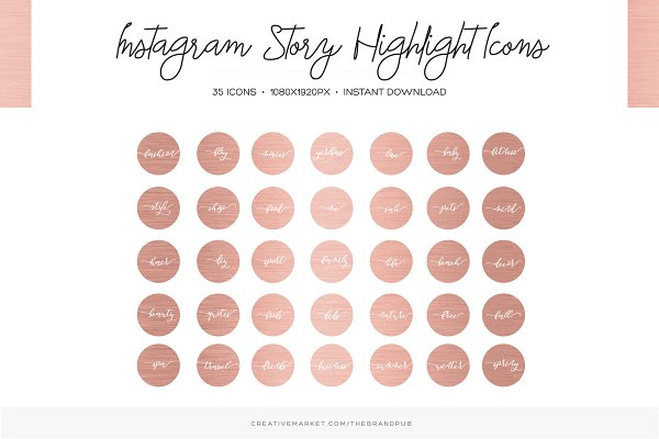 Rose Gold Instagram Highlight Cover…