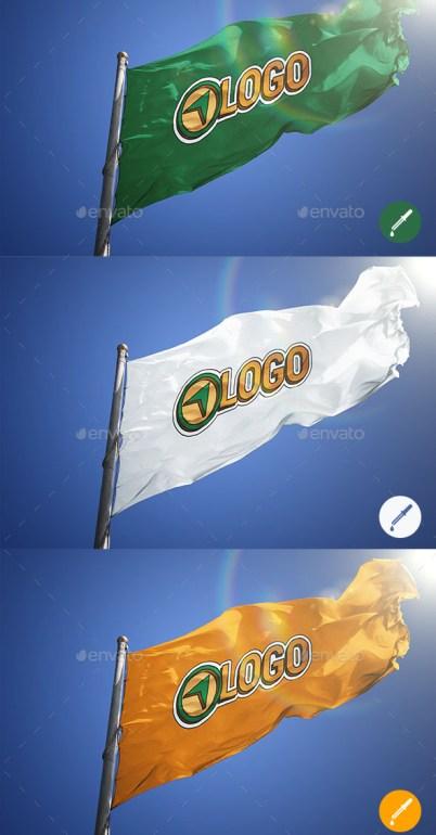 Four Photorealistic Flag Logo Mockups
