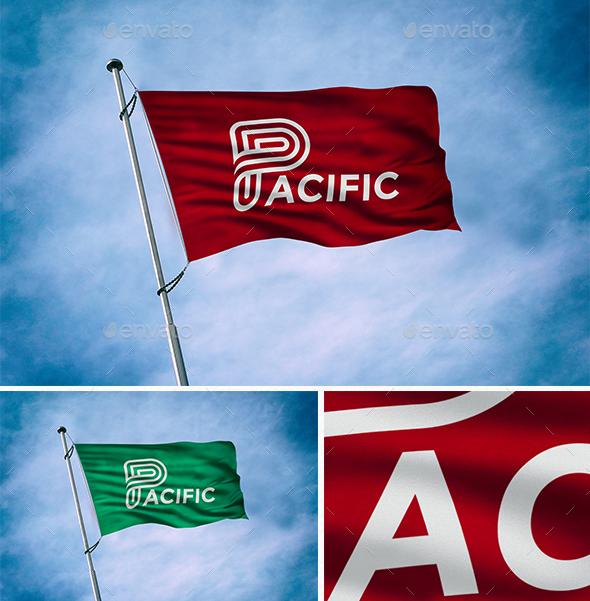 Premium Flag Logo Mockup