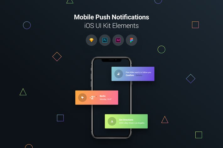 Mobile Push Notifications - iOS UI Kit Elements