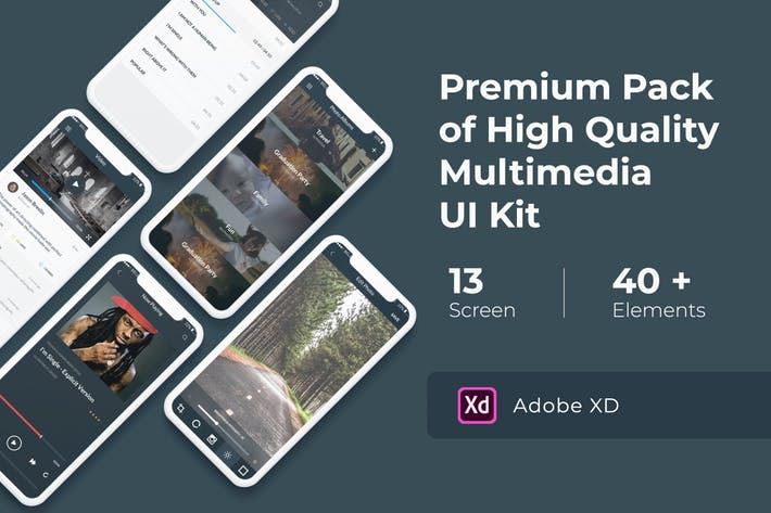 Multimedia and Entertaintment UI KIT for XD