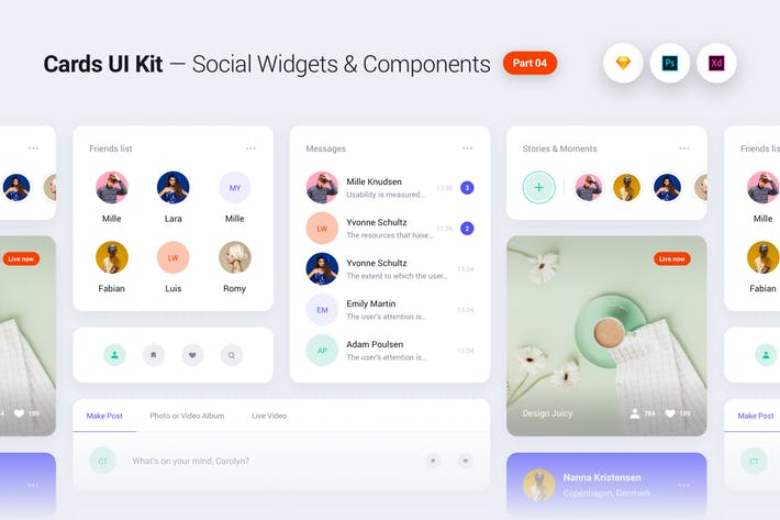 Cards UI Kit - Social Network Widgets & Components