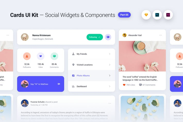 Cards UI Kit - Social Network Widgets & Components