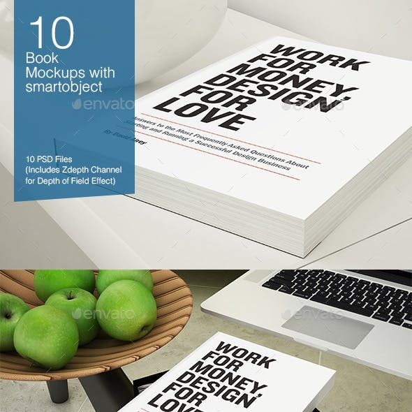 Book Mockup - 10 poses