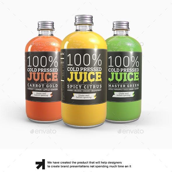 Cold Pressed Juice Glass Bottle Mockup