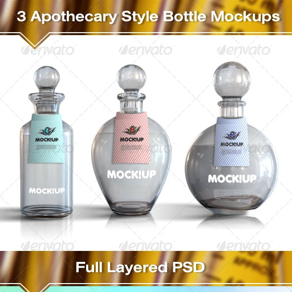 3 Apothecary Style Bottle Mockups