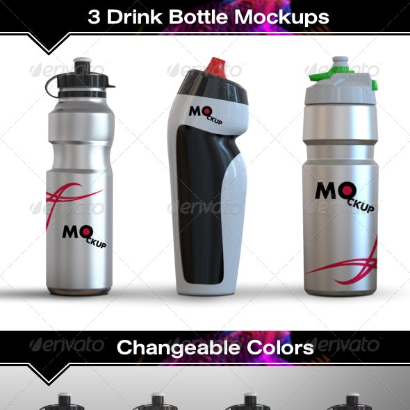 3 Drink Water Bottle Mockups