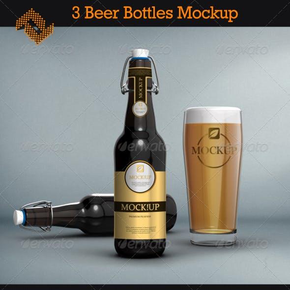 3 Beer Bottles Mockups