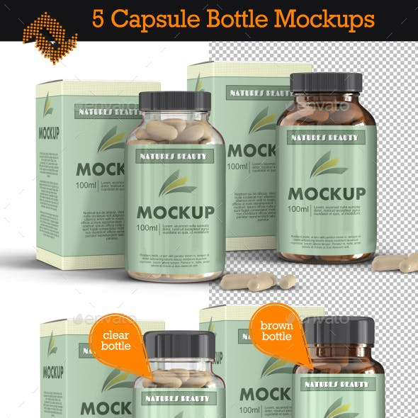 5 Supplement Capsule Bottle Mockups