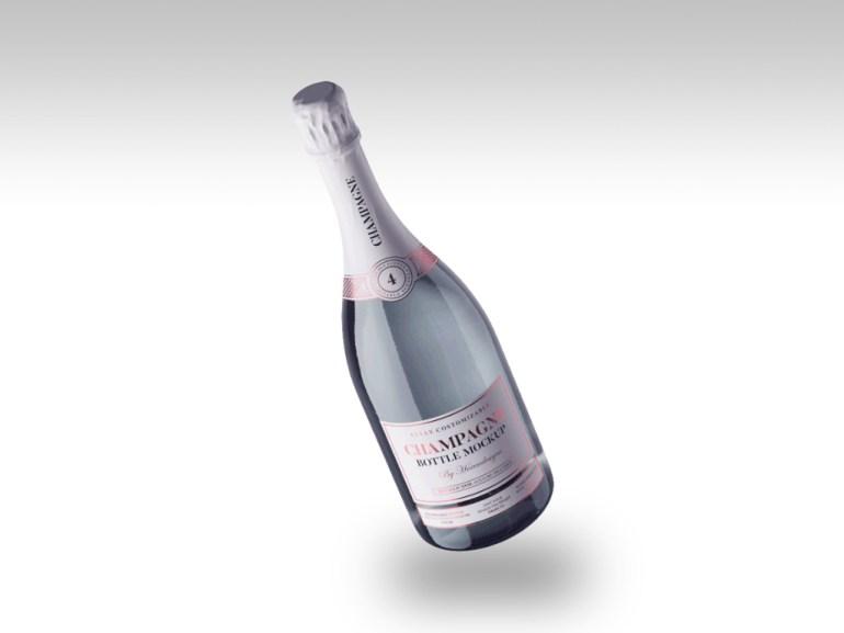 Floating Champagne Bottle Mockup