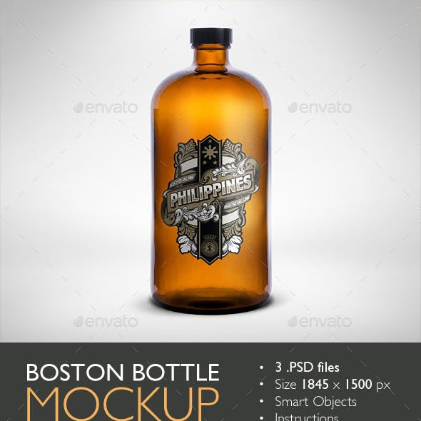 Boston Round Bottle Mockup