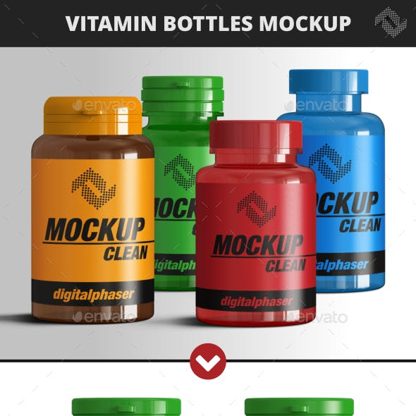Vitamin and Pill Bottles Mockup