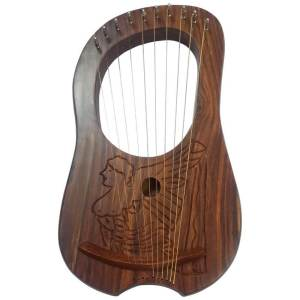 Lyre Harp 10 Metal Stings Engraved Irish Harp Design