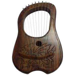 Lyre Harp 10 Metal Stings Engraved Welsh Dragon Design