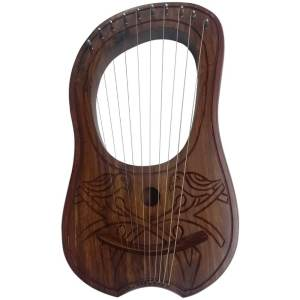 Lyre Harp 2 Birds Design 10 Strings Hand Engraved