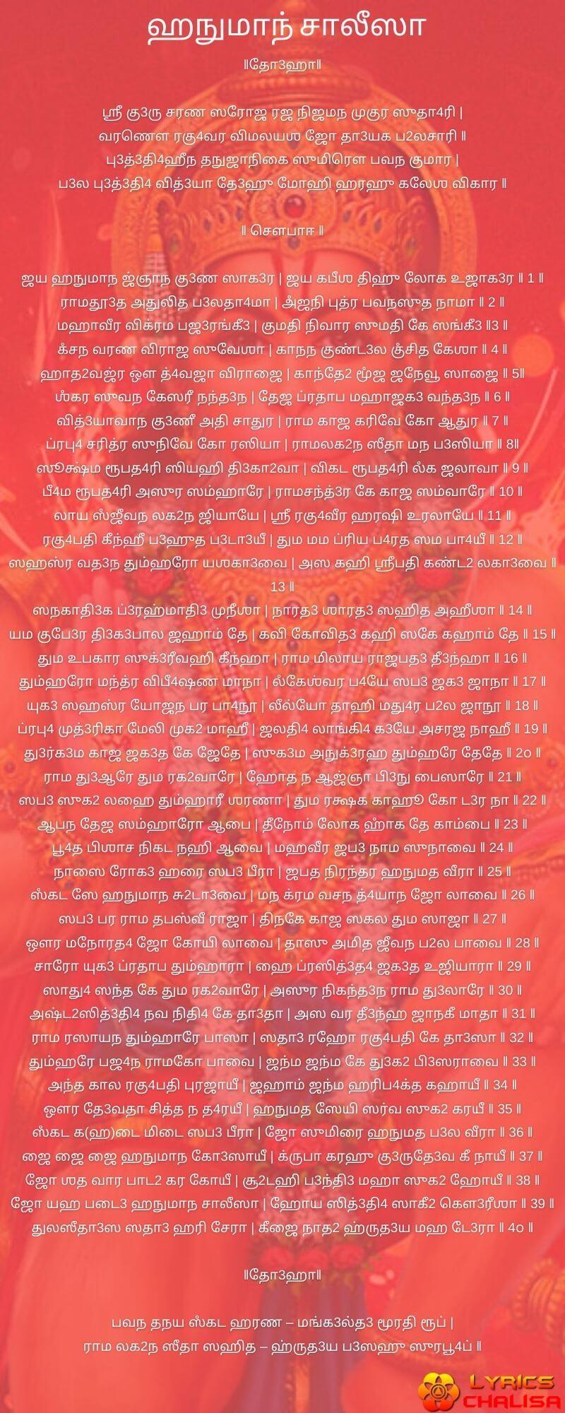 Shree Hanuman Chalisa Lyrics In Tamil