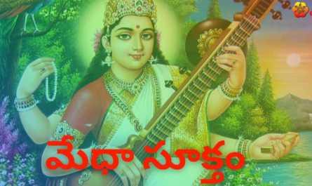Medha Suktam lyrics in Telugu pdf with meaning, benefits and mp3 song.