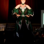 Serephina green silk corset with silver and black