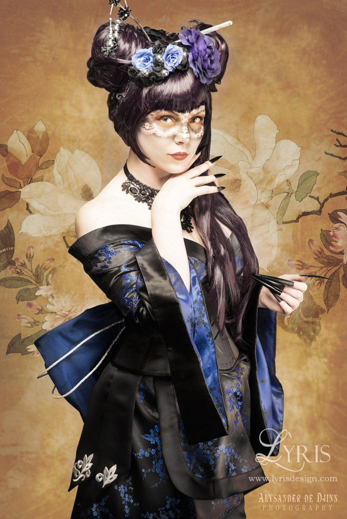 Black and blue cherry blossom gothic kimono and corset