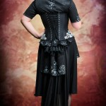 Black and silver corset and burlesque bustled gown