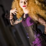 Purple and black corset and fishtail gown