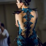 Peacock and black armoured lace gown
