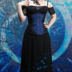 Vivien blue and black underbust corset and cherry blossom skirt