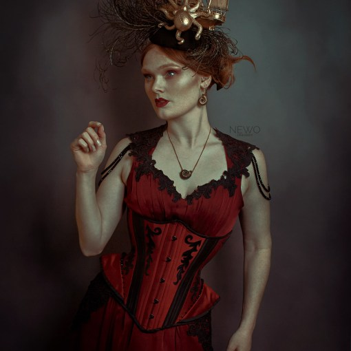 Narya crimson silk and black leather corset and chiffon gown