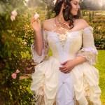 Gold white rococco beauty belle wedding dress