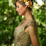 Beaded art nouveau wedding gown