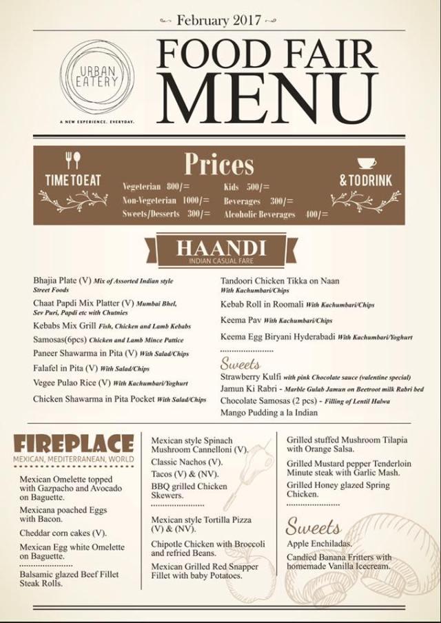 urban eatery food fair 2017 food menu