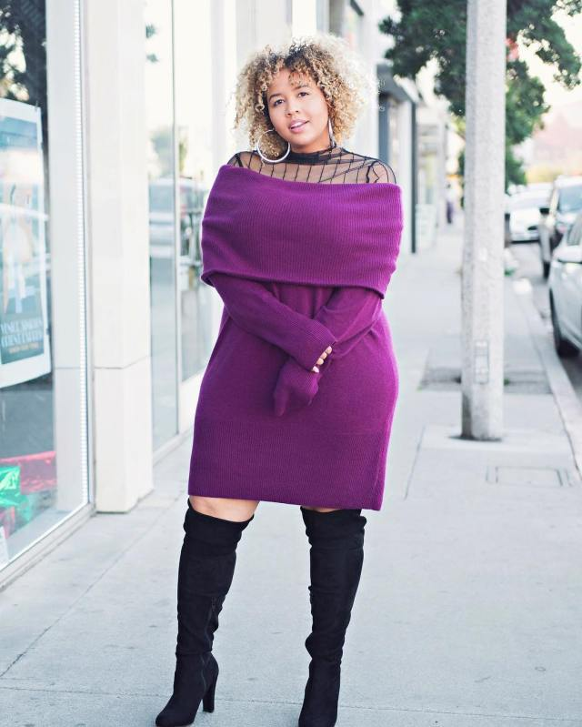 Christmas inspired Off shoulder dress with boots