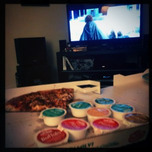 LOTR extended version and pizza.