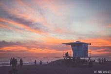 huntington beach sunset lifeguard tower california